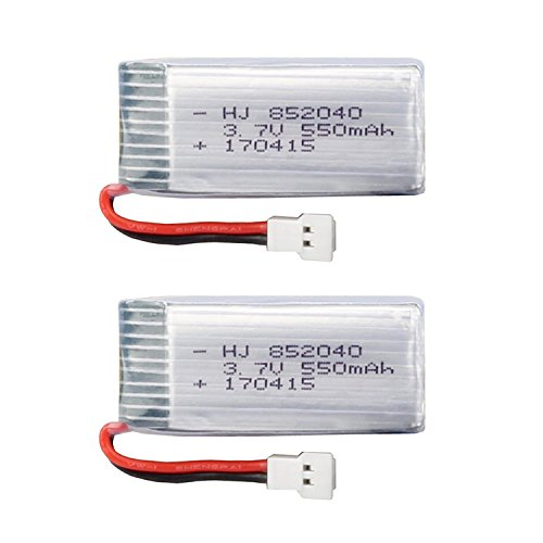 Qsmily 2pcs 3.7V 550mAh 25c Lipo Battery Spare Part for JXD 523 523W Foldable RC Quadcopter Drone by Qsmily