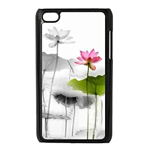DIY Cover Case with Hard Shell Protection for Ipod Touch 4 case with Beautiful lotus lxa#893251