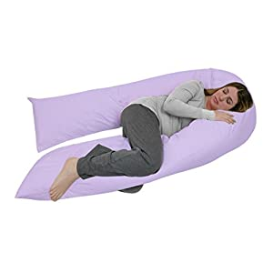 Angel Total Body Pregnancy Maternity Pillow - Full Size - for Back Pain and Side Sleeping - Natural Cotton Pillowcase - Purple