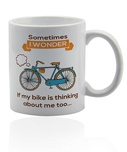 Mountain Biking Coffee Mug 11 oz. white ceramic cup. Cycling gifts for dad mugs.