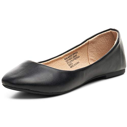 (alpine swiss Womens Black Leather Pierina Ballet Flats 9 M US)