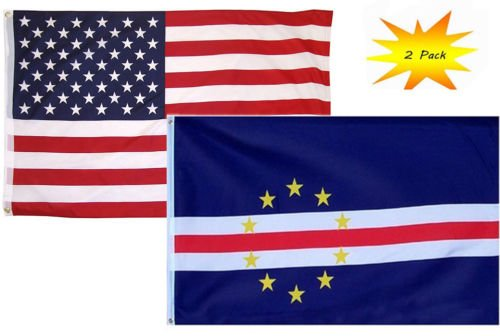 Mount Verde Color - Moon 3x5 3'x5' Wholesale Set (2 Pack) USA American & Cape Verde Country Flag Banner - Vivid Color and UV Fade Resistant - Prime Outside Garden Home Decor