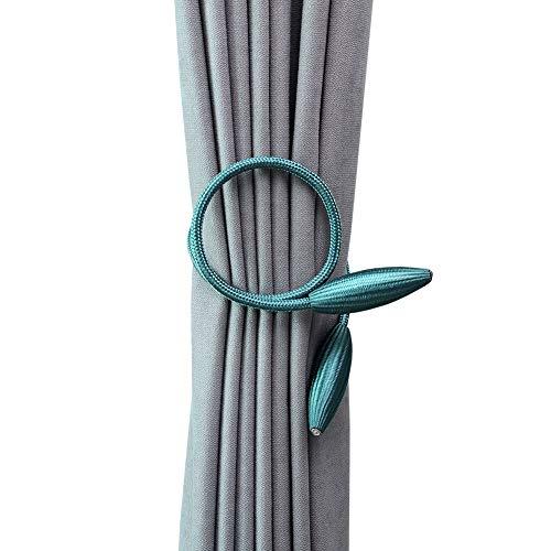 DEZENE 2 Pack Curtain Tiebacks,Random Modeling Drapery Tie Backs,Decorative Rope Holdbacks/Holder for Window Blackout and Sheer Panels,Teal (Panel Back Tie Door)