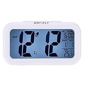 LED Digital Alarma despertador,Anself Reloj Repeticion activada por luz Snooze Sensor de luz Tiempo Fecha Temperatura (Blanco puro) 10
