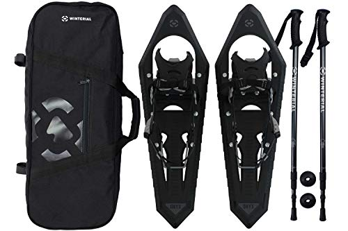 Winterial Premium Snowshoes 25 Inch Mountain Terrain Black Snow Shoes with Quick Fit Bindings Carry Bag and Adjustable Poles