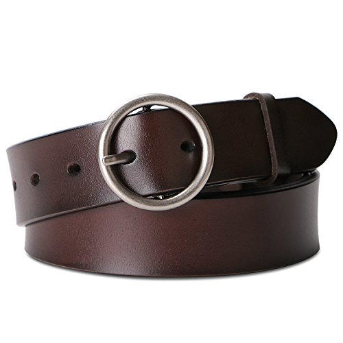 Jeans Leather Ladies (Belts for Women Fashion Brown Leather Belts for Jeans Dress Pants With Round Buckle By SUOSDEY)