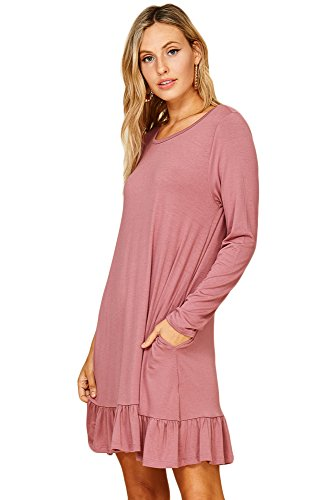 Round Womens Neck Pocket Mauve Dresses Long Ash Sleeve Annabelle Hem Ruffle Bq5HWH7U
