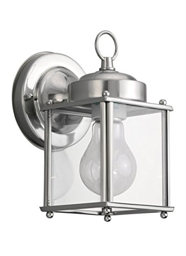 Brushed Aluminum Outdoor Wall (Sea Gull Lighting 8592-965 New Castle One-Light Outdoor Wall Lantern with Clear Glass Panels, Antique Brushed Nickel Finish)