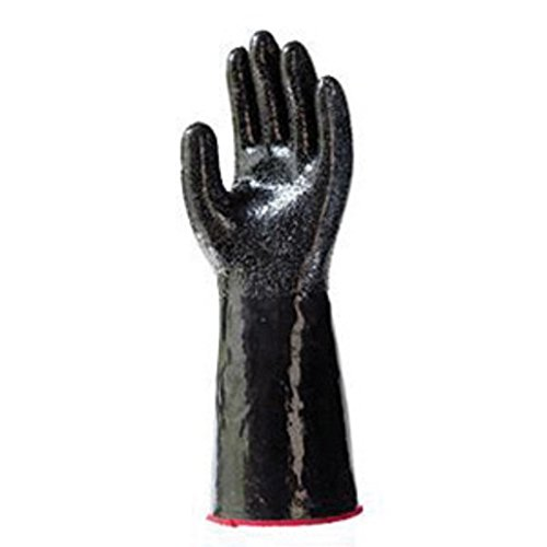 SHOWA Size 8 Black 355mm Polyester Lined 15 Gauge Unsupported Neoprene Fully Coated Chemical Resistant Gloves With Rough Particle Finish And Gauntlet Cuff