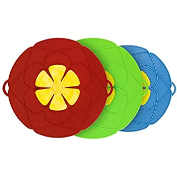 Spill Stopper Lid Cover Pack of 3,Horsky Silicone Boil Over Safeguard Anti Spill Lid Cover Pot Pan Lid Multi-Function Cooking Kitchen Tool Two big 11.4 inch and one Small 10.2 inch (Green, Red & Blue)
