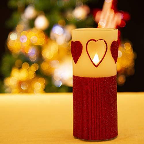 Flamelike Candles - Flameless Candle with Timer. Heart Decorative. Realistic Flickering Flame. Real Wax. Battery Operated. Red 7 inch. Great Gift. -