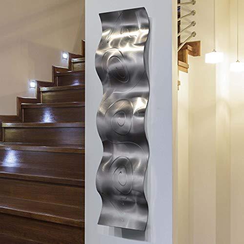 Statements2000 3D Abstract Metal Wall Art Accent Sculpture Modern Silver Home Decor by Jon Allen, 46