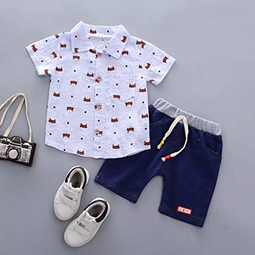 Baby Boys Summer Sleeve Short Polo Shirts and Stripe Shorts 2pcs Shorts Set Outfit Yamally by Yamally_9R_Boy Clothing (Image #1)