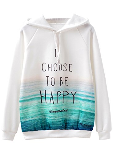 Futurino Women's I Choose To Be Happy Fleece Cute Sweatshirt Pullover Hoodie
