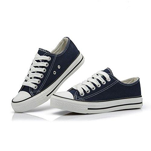 DCRYWRX Zapatos Planos De Lona Para Estudiante De Mujeres Zapatos Ocasionales Clásicos Zapatos Deportivos De Colores Lisos Zapatos De Cordones De Corte Bajo Blue