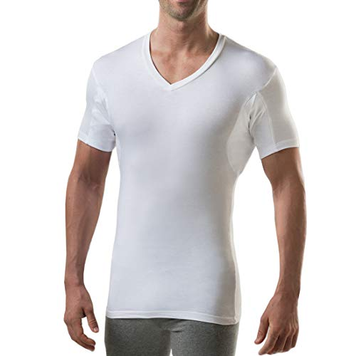 Deep Undershirt V-neck (Sweatproof Undershirt for Men with Underarm Sweat Pads (Slim Fit, V-Neck) (Medium (2-Pack), White))