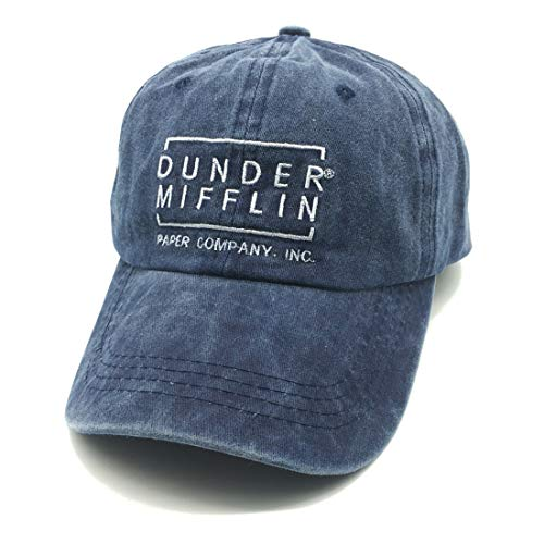 fa1d57bd Waldeal Dunder Mifflin Vintage Washed Distressed Dad Hats Denim Baseball  Caps Sew On Asphalt