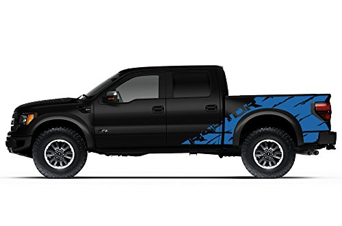 "Ford F-150 Raptor SVT 2010-2014 Crew Cab Standard Bed ""RAPTOR"" SHREDS V2 Graphics Kit 3M Vinyl Decal Wrap - Azure Blue"