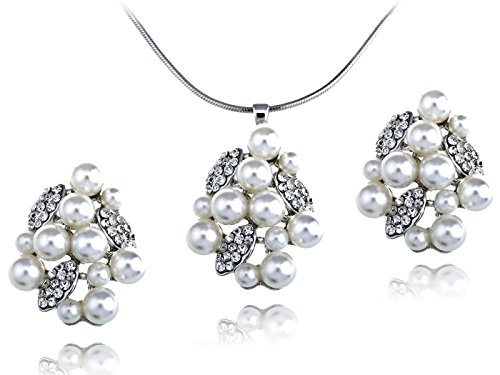 Alilang Faux Pearl Cluster Organic Leafy Swarovski Crystal Element Earring Necklace Set