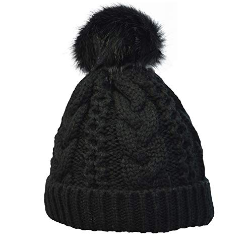 - Terra Winter Hand Knit Beanie Hat with Faux Fur Pompom for Women and Men, Black, One Size