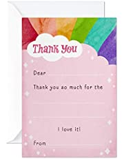 Hallmark Kids Fill in The Blank Thank You Cards, Rainbow (20 Cards with Envelopes)