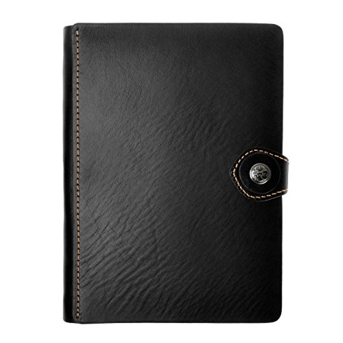 ZLYC Handmade Leather Handwriting Bussiness Note taking Notebook Student Note Taker,Black
