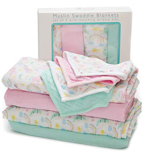 - Baby Muslin Swaddle Blankets with Matching Dribble Bibs | Premium Cotton Swaddle Blanket | Set of 4 | Large 47 x 47 inches | Cute Unicorn/Rainbow Designs by Little Tinkers World