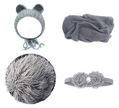 Jay-EE Newborn 4 Pcs Photography Props Set Baby Photo Prop Long Ripple Stretch Wrap, Headband, Ears Hat and Faux Fur Backdrop Blanket (Grey) ()