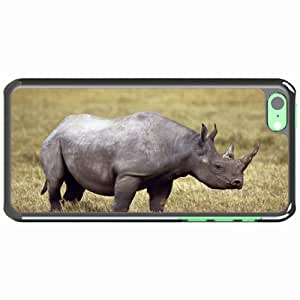 iPhone 5C Black Hardshell Case rhinoceros grass horn Desin Images Protector Back Cover