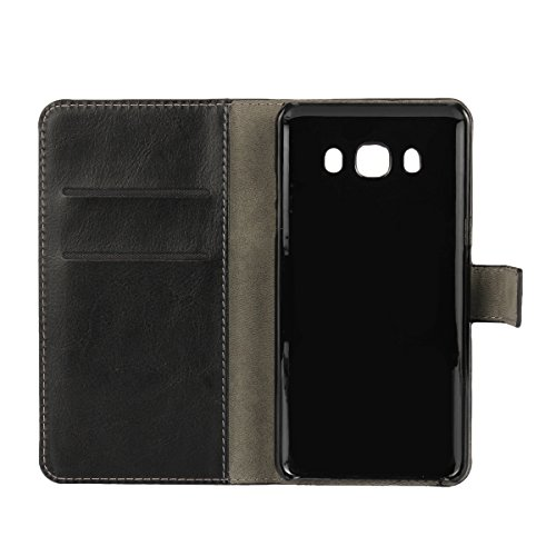 Galaxy J7 (2016) Funda,COOLKE Retro PU Leather Wallet With Card Pouch Stand de protección Funda Carcasa Cuero Tapa Case Cover para Samsung Galaxy J7 (2016) 5.5 - Blanco Negro