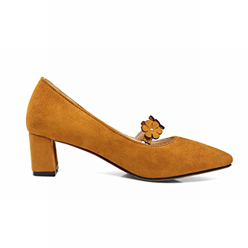 Mee Shoes Women's Sexy Mid Heel Block Heel Pointed Toe Flower Court Shoes Yellow 3cvRwYL