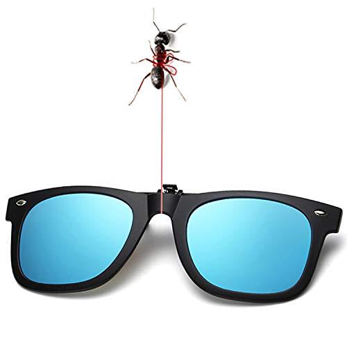 Polarized Clip-on Sunglasses Unisex Oval Lens Flip Up Clip on Prescription Sunglasses Eyeglass for Women (Ice Blue-2) (Ice Eye Glasses)