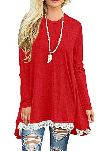 Afibi Women Lace Long Sleeve A-line Swing T-Shirt Loose Tunic Top Blouse (Medium, Red) -