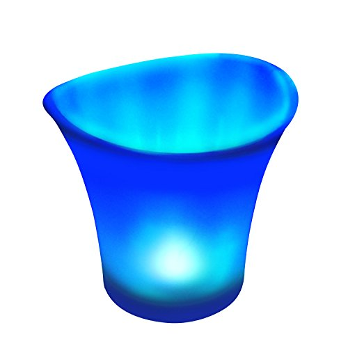 Bryt LED Lighted Ice Bucket – Champagne, Wine and Beer Ice Bucket for Parties with Blue Bucket Light - Keeps Drinks Chilled - Fbm Bar