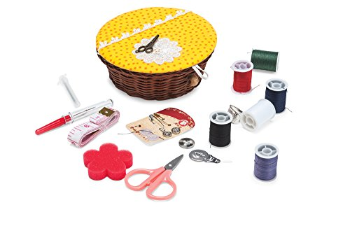 Compact Sewing Kit - Mini Sew Repair Basket Case Set; Scissors, Thread, Needle Holder, Safety Pins, Buttons, Seam Ripper, Thimble, Threader (Wicker Baskets Sewing)