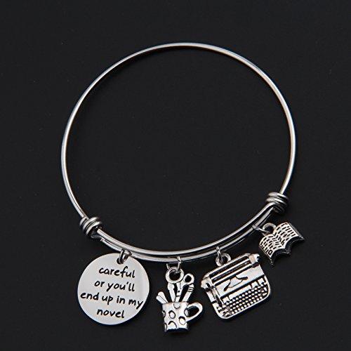 Gzrlyf Writer Bracelet Author Bracelet Writer Gift Novelist Gift Careful Or Youll End Up In My Novel Jewelry Writing Gift Author Jewelry (Writer bracelet) by Gzrlyf (Image #5)