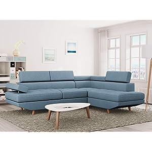 Loungitude Canapé d'angle droit style scandinave en tissu bleu clair