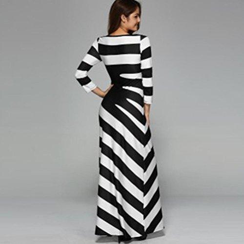 LHWY Kleider Damen Elegant Mode Frau O Neck Casual Schwarz Weiß ...