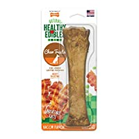 Delicados para perros con sabor a tocino Nylabone Healthy Edibles | Todas las golosinas para perros sin grano natural hechas en los EE. UU. Solamente | Golosinas masticables para perros pequeños y grandes | 1 cuenta