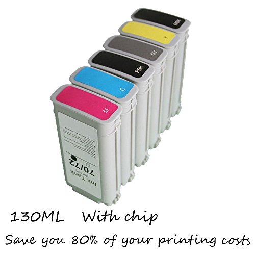 Ouguan Ink 6x Compatible Ink Cartridge for HP 70 Ink Cartridge 130ml Worked with Hp Designjet Z2100 Z3100 Z3200 Z5200 printer 70 130ml Photo Black Ink