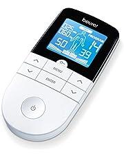 Ahorra en Beurer EM 49 - Electroestimulador Digital Masaje EMS TENS, Pantalla LCD, 2 Canales, 4 Electrodos autoadhesivos y más