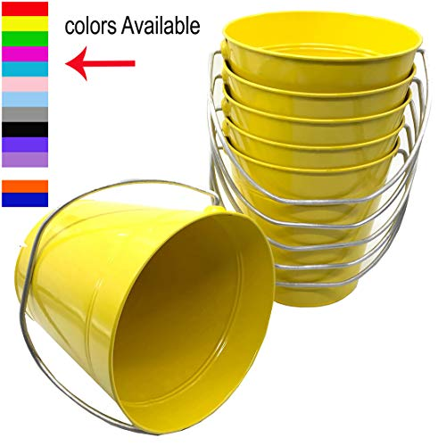 Italia 6-Pack Metal Bucket 3.7 Quart color Yellow Size 7.5 x 7.5