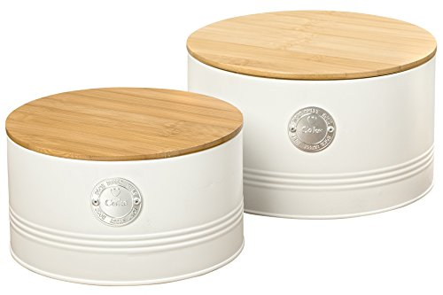 The Farmers Market HOME SWEET HOME Wood Top Cookie Tins, Cake Canisters, Set of 2, Natural, Rustic Style, Chrome and Ribbed Details, Galvanized, 8 1/4 and 4 3/4 Inches Diameter, ()