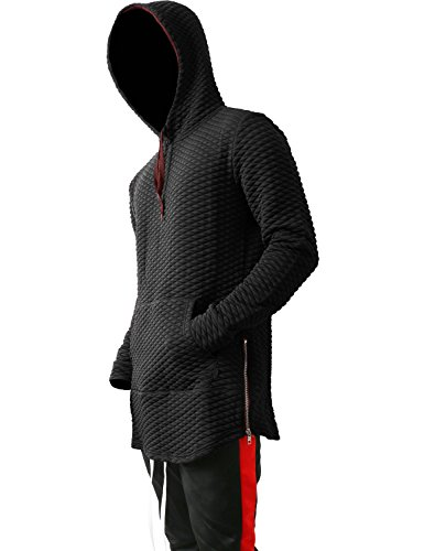 Hat and Beyond VW Mens Hoodie Diamond Quilted Zipper Hipster Elongated Extended Hip Hop Longline Pullover Sweater (3X-Large, (Stylish Hooded Zipper)