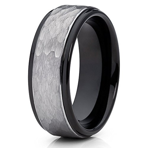 Silly Kings 8mm Gray Tungsten Carbide Wedding Band Hammered Design Men & Women Comfort Fit 10 ()