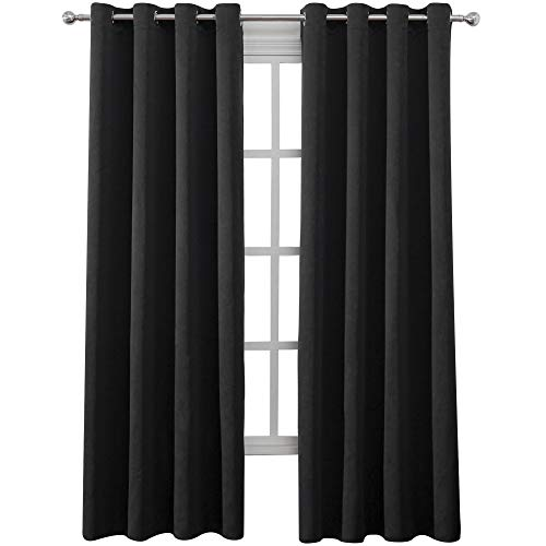 (Lemomo Blackout Curtains Thermal Insulated Room Darkening Curtains for Living Room and Bedroom 52 x 84 inch Black Set of 2 Curtain Panels)