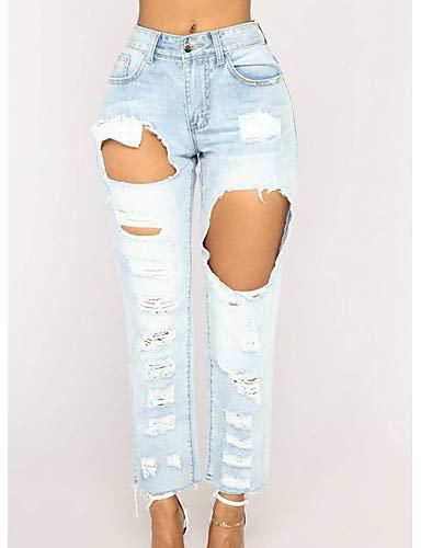 YFLTZ Pantalon Skinny en Jean pour Femme - Taille Haute Couleur Unie Light Blue