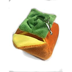 Cute Shaped Hammock Bunk Bed, Self Warming Bed, Highly Durable with Cozy Fleece Fabric,Perfect for Sugar Glider Hamster Small Bird, Unique Trendy Design,Hideaway Pet Bed (Persimmon)