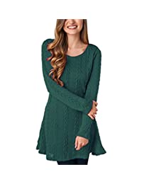Women Cable Knit Dress Sumtory Slim Fit Long Sleeve Sweater Dresses(8 Colors)
