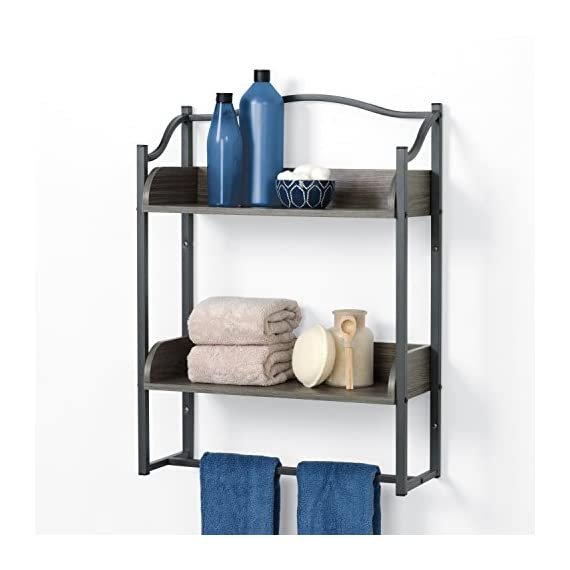 Zenna Home 8712GY 2-Tier Metal Bathroom Wall Shelf, Driftwood Grey/Pewter - Two shelves provide room for shampoo, soap, conditioner, decorative Accessories and more Pewter metal frame is paired with driftwood-colored wood shelves Sturdy frame is attractive and rust resistant - wall-shelves, living-room-furniture, living-room - 41IfRG6XD6L. SS570  -